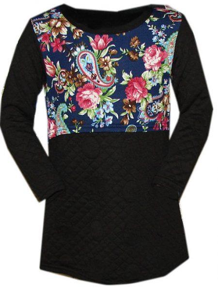 jurk zwart met bloemen