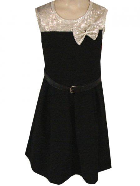 jurk glitter parelmoer met strikje