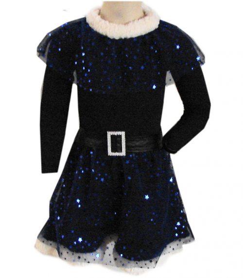 glitter jurk blauw ster