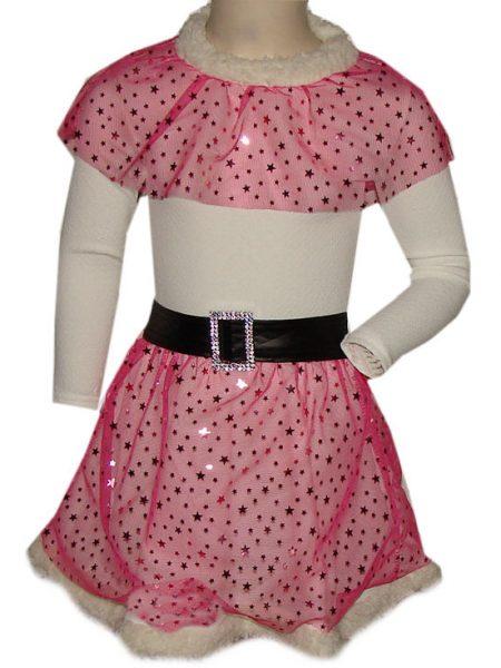 glitter jurk roze ster