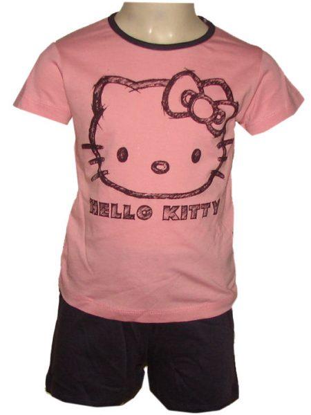 hello Kitty korte broek met shirt aubergine/roze