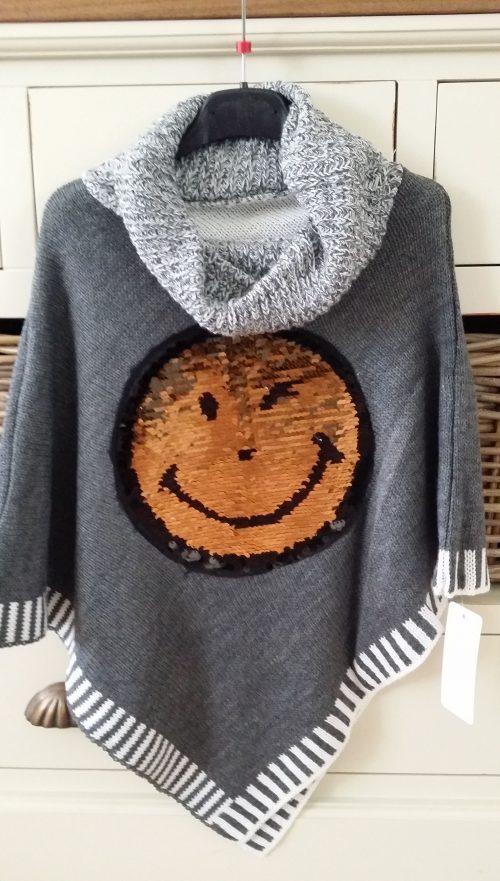 poncho met omkeerbare pailletten smile grijs