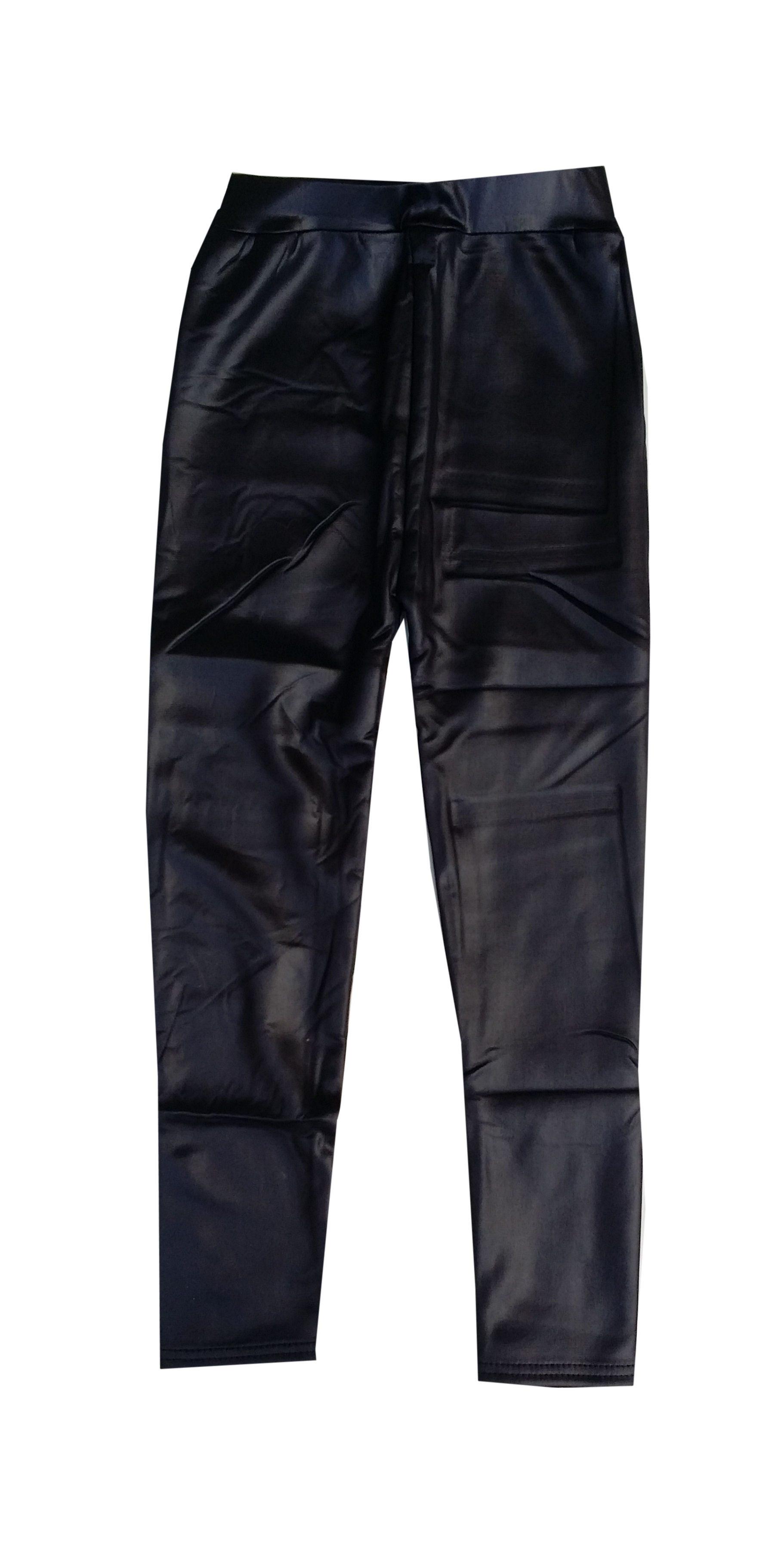 zwarte leatherlook legging gevoerd