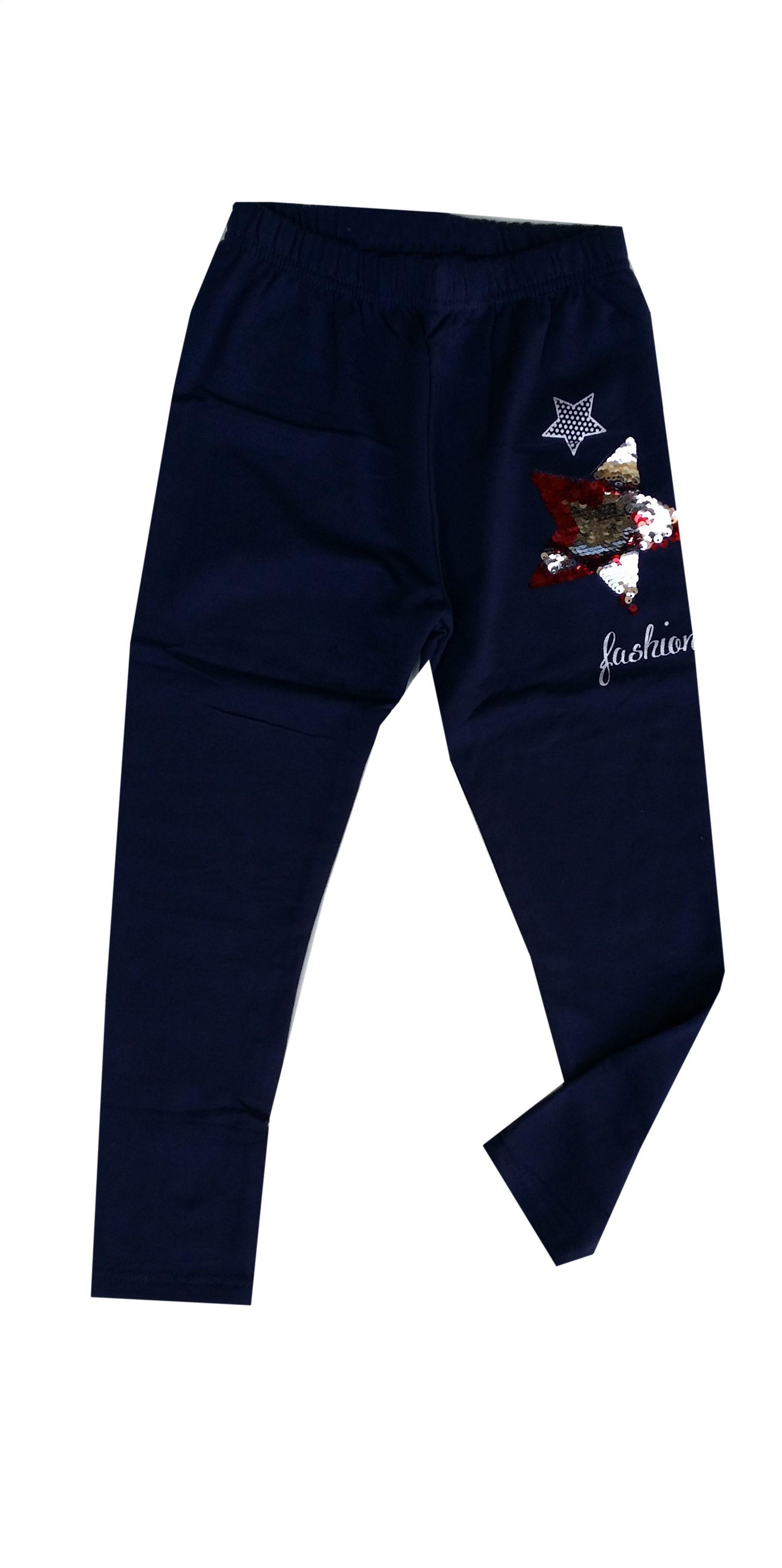 Legging donkerblauw met omkeerbare pailletten ster