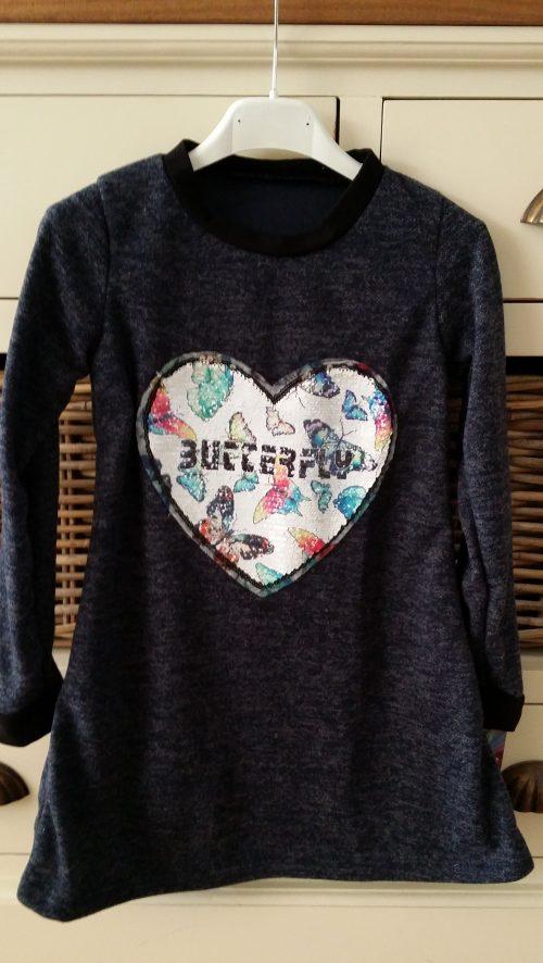 jurk met omkeerbare pailletten butterfly donkerblauw