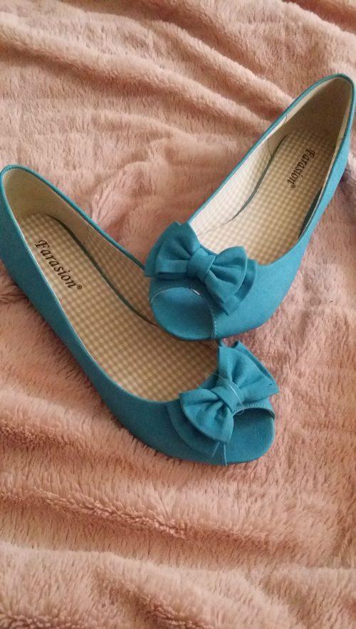 blauwe ballerina's met strikje