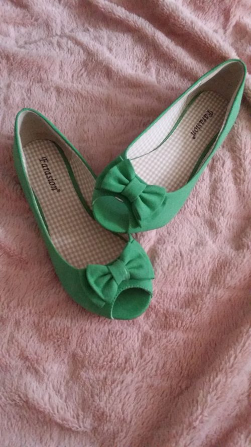 groene ballerina's met strikje
