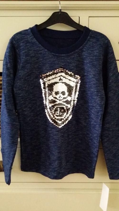 sweater met omkeerbare pailletten blauw