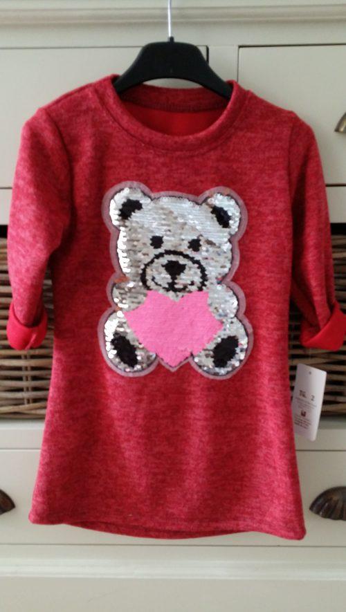 jurk beer met omkeerbare pailletten rood