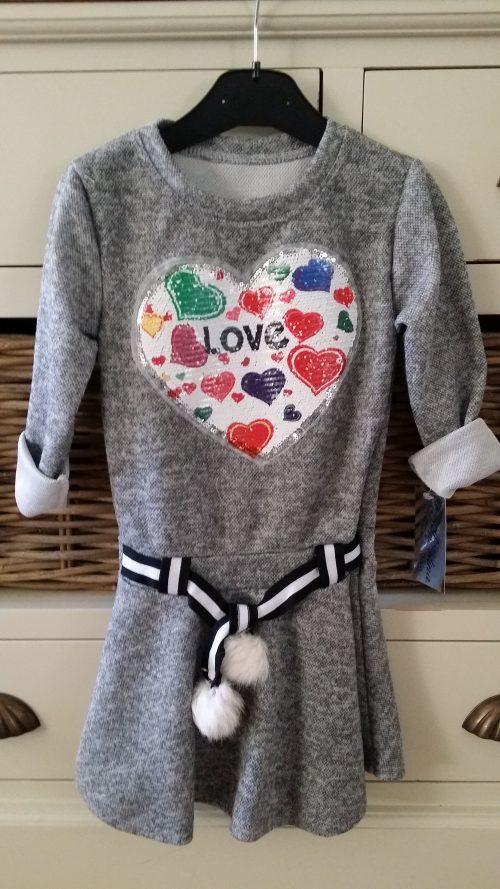 jurk grijs met omkeerbare pailletten