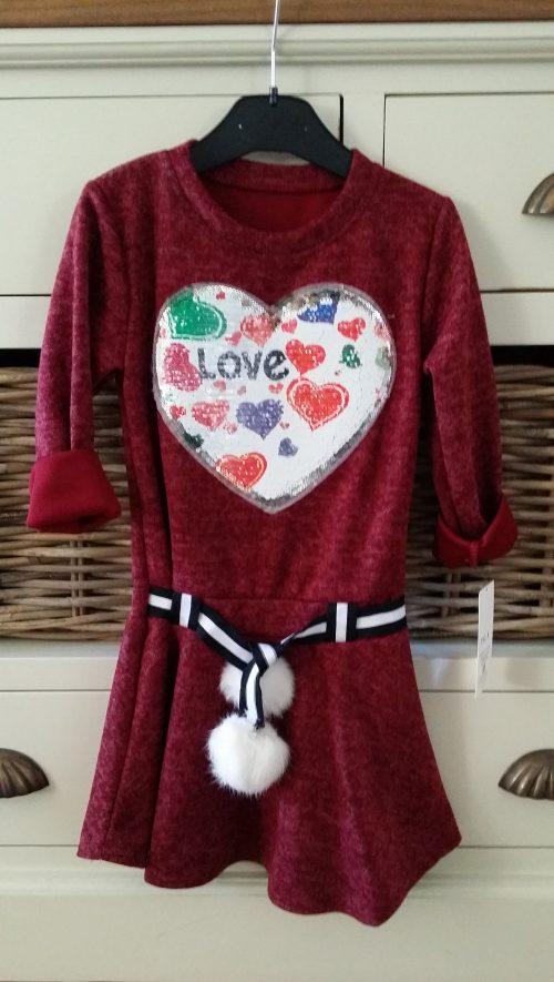 jurk bordeaux rood met omkeerbare pailletten love