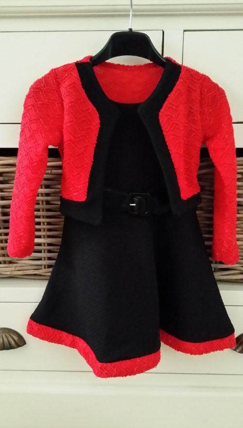 jurk rood/zwart dubbellook