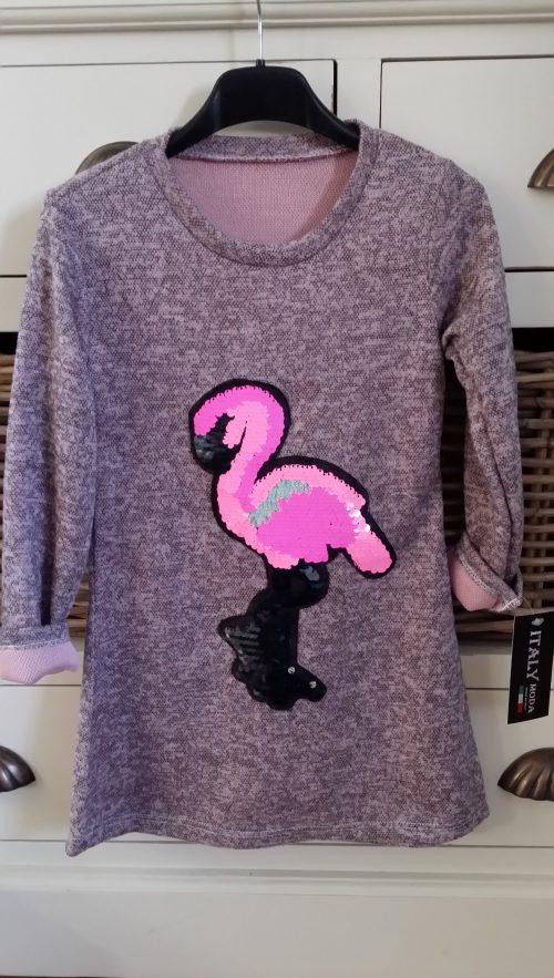 jurk roze met flamingo omkeerbare pailletten