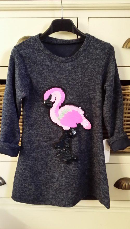 jurk donkerblauw flamingo met omkeerbare pailletten