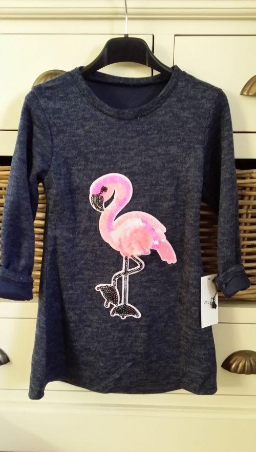 jurk donkerblauw met flamingo en bontje