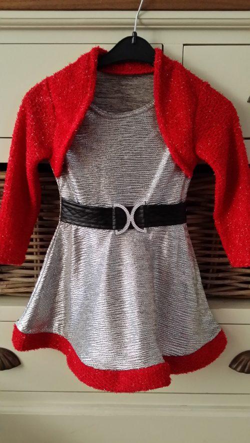 jurk zilver met rood dubbellook