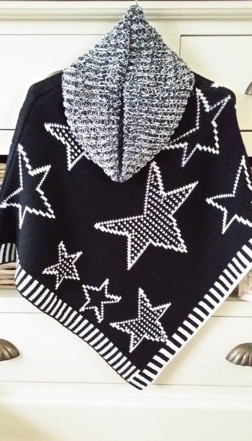 poncho sterren zwart