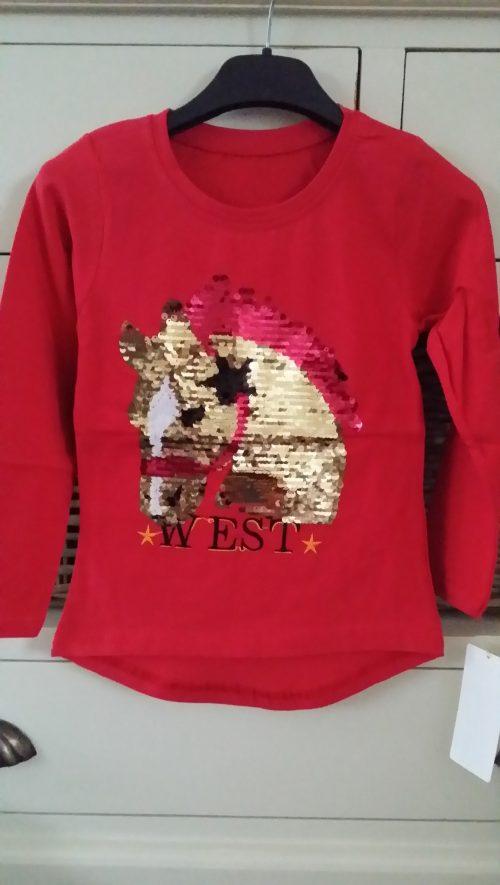 shirt pailletten paard rood
