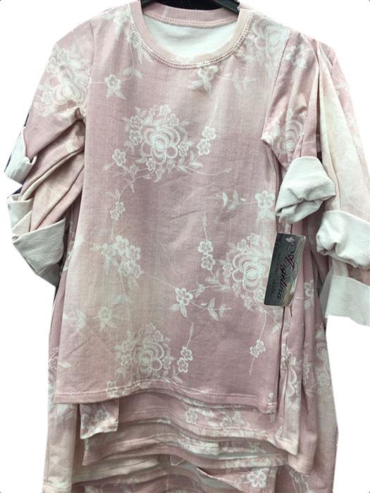 denim flower jurk roze