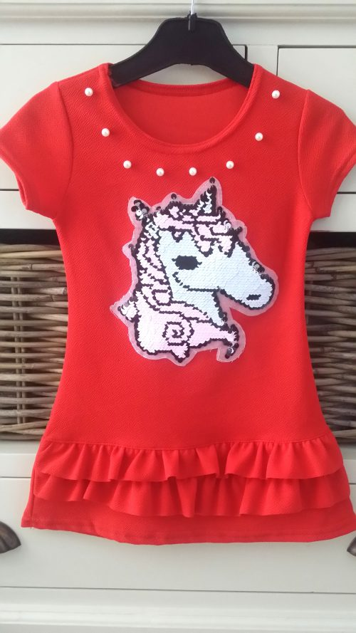 jurk rood unicorn omkeerbare pailletten