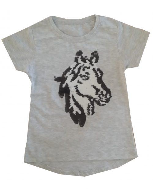 shirt paard omkeerbare pailletten grijs