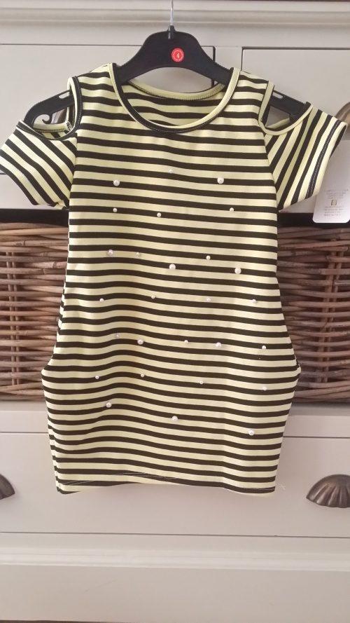 jurk gestreept geel zwart met parels