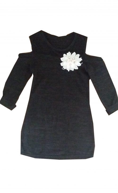 jurk flower zwart