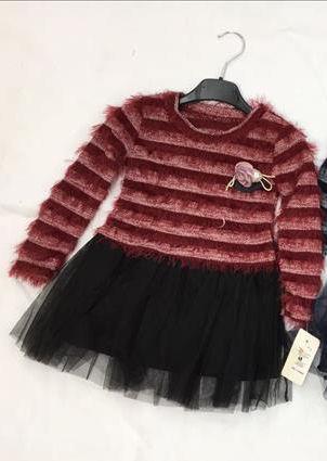jurk bordeaux zwart met tule