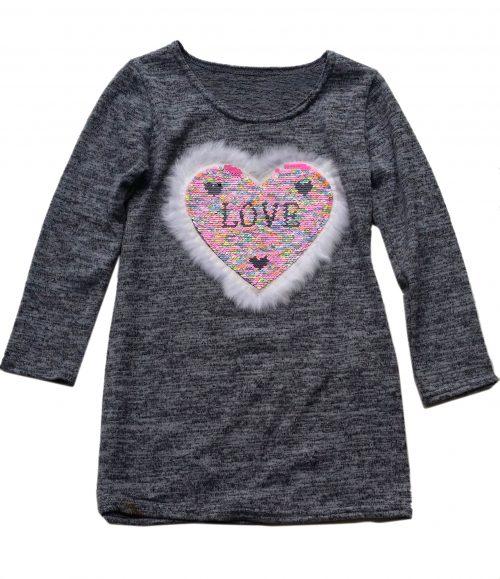 jurk hart love met omkeerbare pailletten grijs