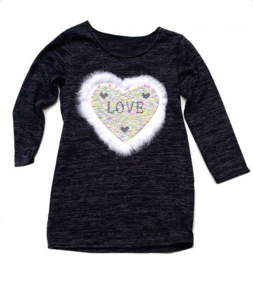 jurk hart love met omkeerbare pailletten black