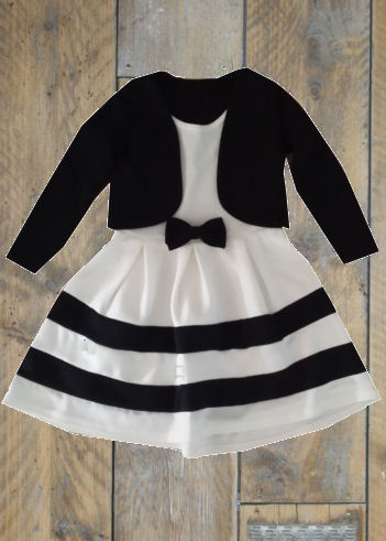 jurk dubbellook wit zwart