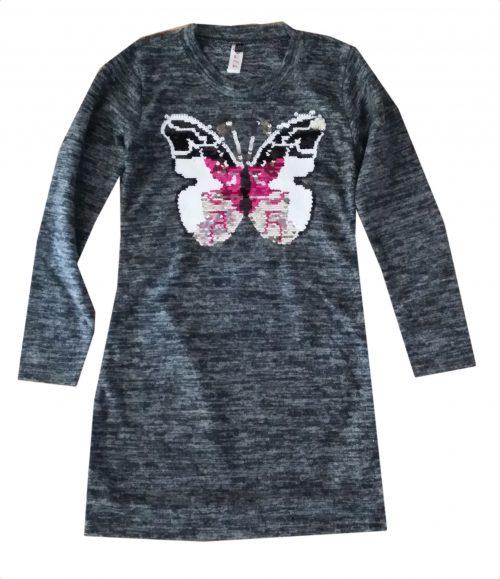 jurk vlinder met omkeerbare pailletten donkergrijs