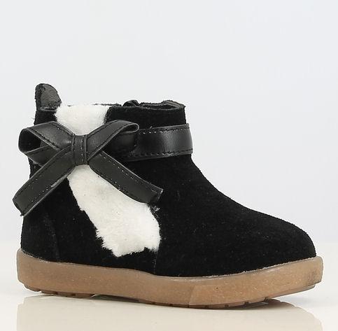 boots black met bontrand en rits