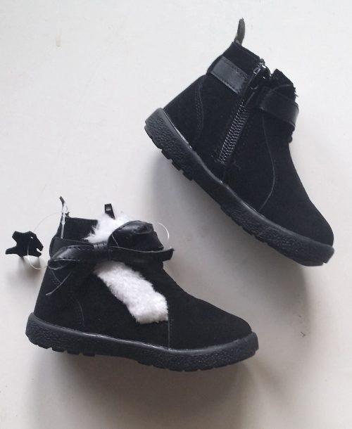 boots black met bontrand en rits Materiaal: echt leer