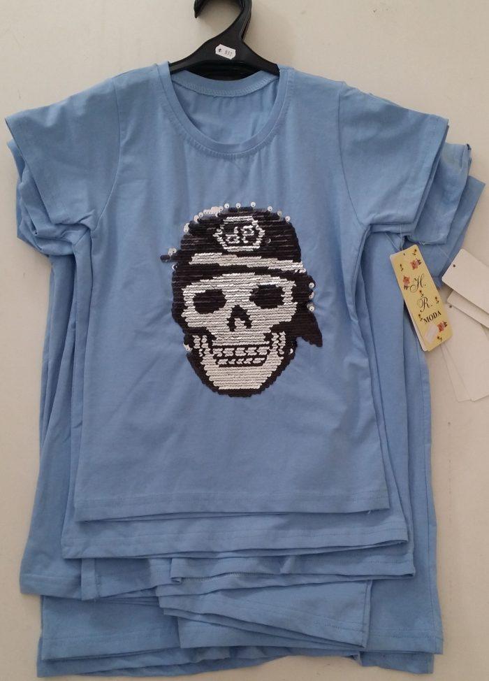 shirt lichtblauw omkeerbare pailletten