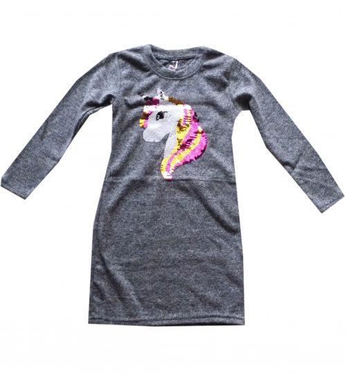 jurk grijs unicorn met omkeerbare pailletten