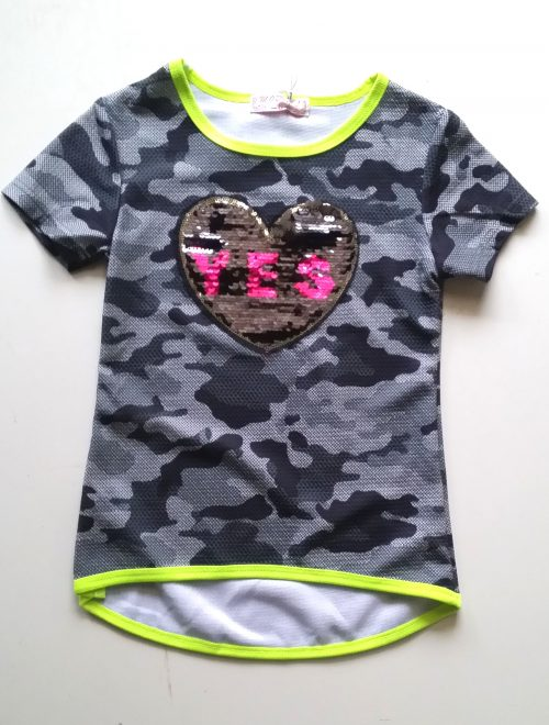 camouflage shirt fluor met omkeerbare pailletten