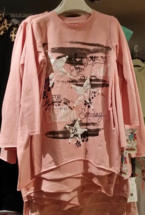 jurk roze met bedrukkingen