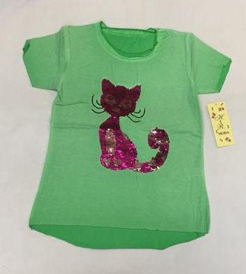 shirt met omkeerbare pailletten poes groen