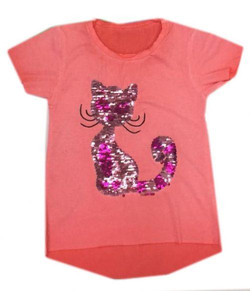 shirt met omkeerbare pailletten poes koraal