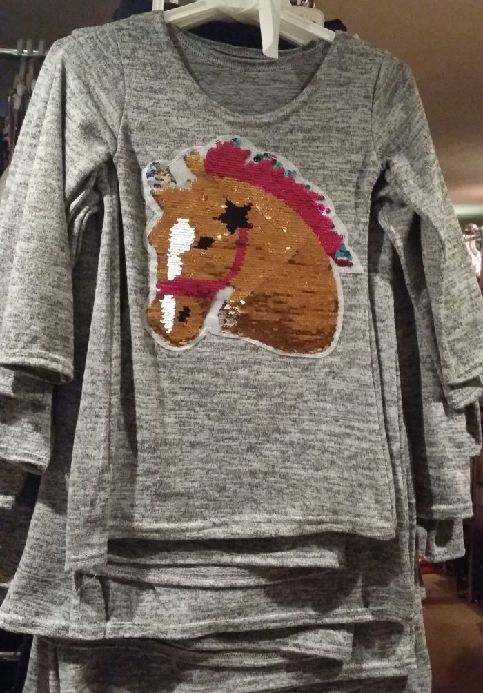 jurk paard omkeerbare pailletten grijs Mooi jurkje toverpailletten - GRATIS VERZENDING - BETAAL VEILIG MET IDEAL - OPHALEN MOGELIJK nr.mj2428b