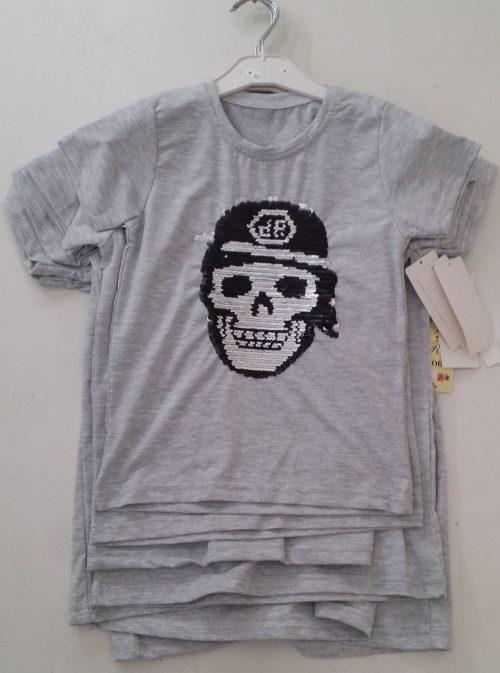 hirt met omkeerbare pailletten grijs Mooi t-shirt in lichtblauw met applicatie van toverpailletten 95% katoen 5% elasthan - GRATIS VERZENDING - BETAAL VEILIG MET IDEAL - OPHALEN MOGELIJK art.nr.jts1634gr