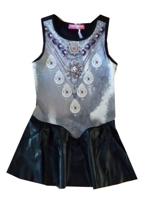 jurk zwart met lederlook rok  Mooi jurkje in zwart met zwarte onderkant van leatherlook Hippe print op de voorkant  - GRATIS VERZENDING - BETAAL VEILIG MET IDEAL - OPHALEN MOGELIJK nr. mj2491