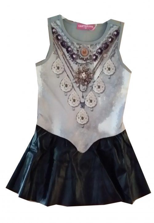 jurk grijs met lederlook rok  Mooi jurkje in grijs met zwarte onderkant van leatherlook Hippe print op de voorkant  - GRATIS VERZENDING - BETAAL VEILIG MET IDEAL - OPHALEN MOGELIJK nr. mj2492