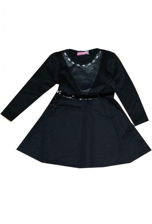 jurk black met lange mouwen Mooi jurkje in zwart met lak bies in de taille en kralen langs de hals - GRATIS VERZENDING - BETAAL VEILIG MET IDEAL - OPHALEN MOGELIJK nr. mj2493