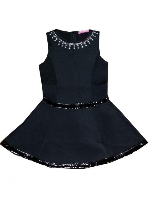 jurk black mouwloos  Mooi jurkje in zwart met lak bies in de taille en langs de onderkant Langs de hals mooie siersteentjes - GRATIS VERZENDING - BETAAL VEILIG MET IDEAL - OPHALEN MOGELIJK nr. mj2495