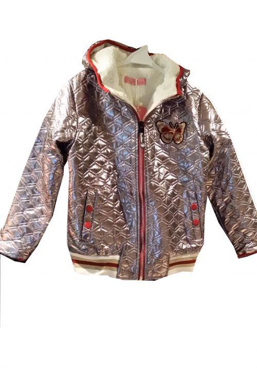 winterjas zilver Leuke jas in zilver met teddyvoering nr.mjs1028