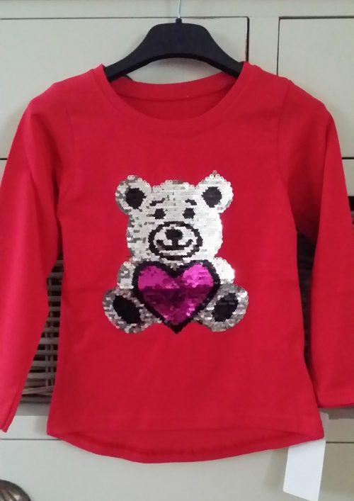 shirt omkeerbare pailletten beer rood Mooi shirt met applicatie toverpailletten beer 95% katoen 5% elasthan - GRATIS VERZENDING - BETAAL VEILIG MET IDEAL - OPHALEN MOGELIJK artikelnummer ms1958
