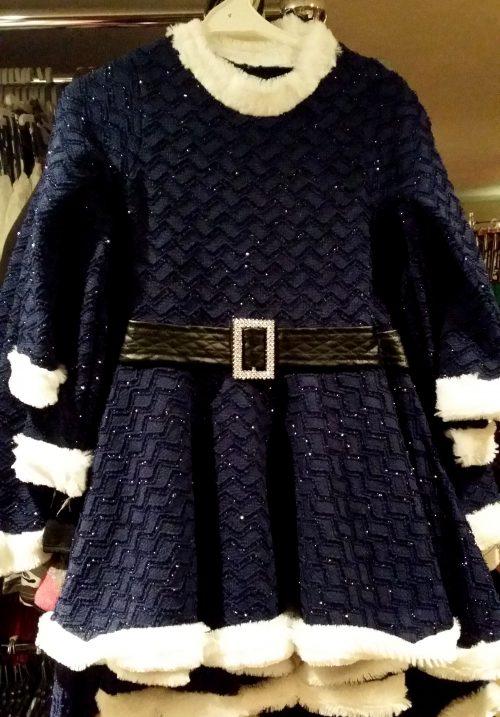 glitterjurk donkerblauw Leuk jurkje in donkerblauw met bontranden - BETAAL VEILIG MET IDEAL - OPHALEN MOGELIJK
