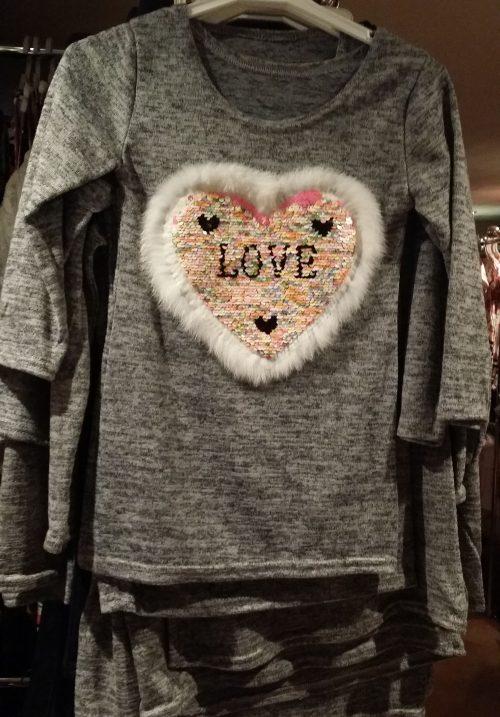jurk hart love met omkeerbare pailletten grijs Leuk jurkje met applicatie van toverpailletten en bontje eromheen - GRATIS VERZENDING - BETAAL VEILIG MET IDEAL - OPHALEN MOGELIJK nr.mj2429gr